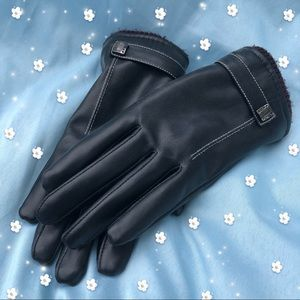Brown Warm Cute Fleece Lined Faux Leather Gloves